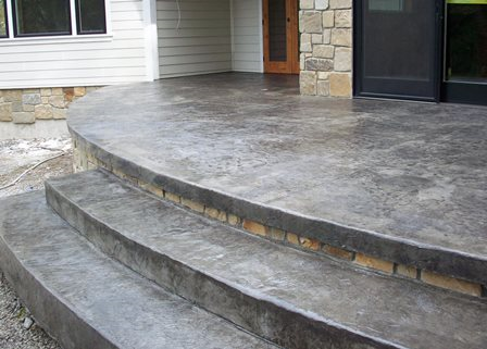 Stamped Concrete Patio With Custom Stairs Custom Concrete