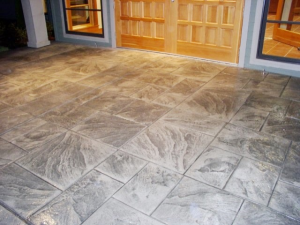 Decorative concrete entry way, aging in place, universal design entry
