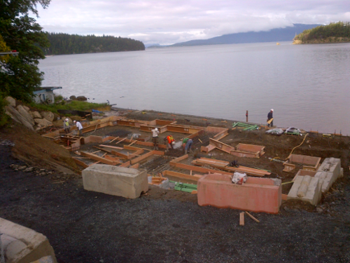 Concrete foundations for shoreline homes in NW Washington