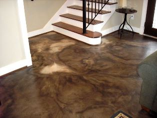 Acid stained colored concrete