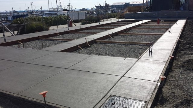 Project Feature: Concrete patio and bocce ball court at Anthony's restaurant in Anacortes