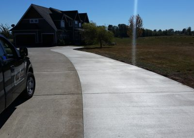 Widened concrete driveway