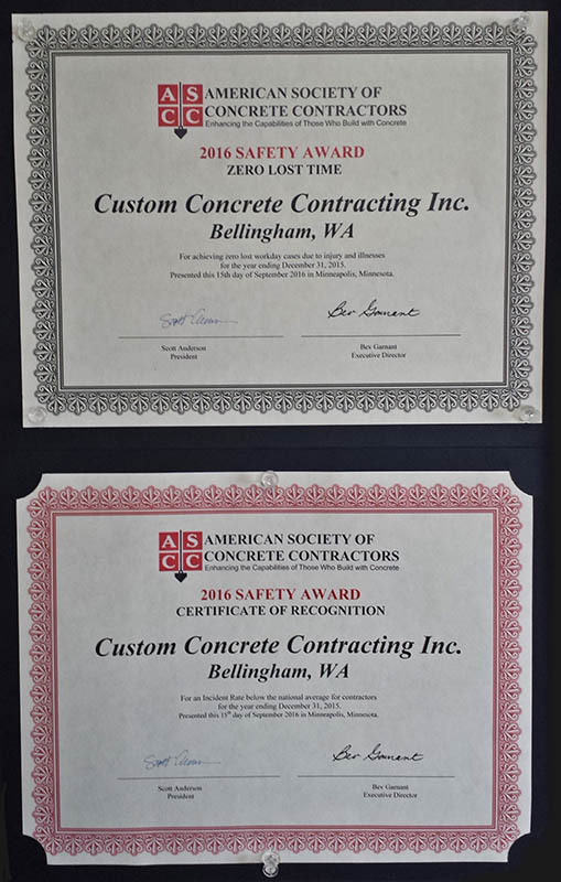 Health and Safety Award, September 2016