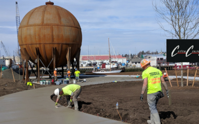 Project feature: Foundation for acid ball art on Bellingham waterfront