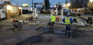 CCC crews installing a concrete drive-through at the McDonalds on King Street in Bellingham.